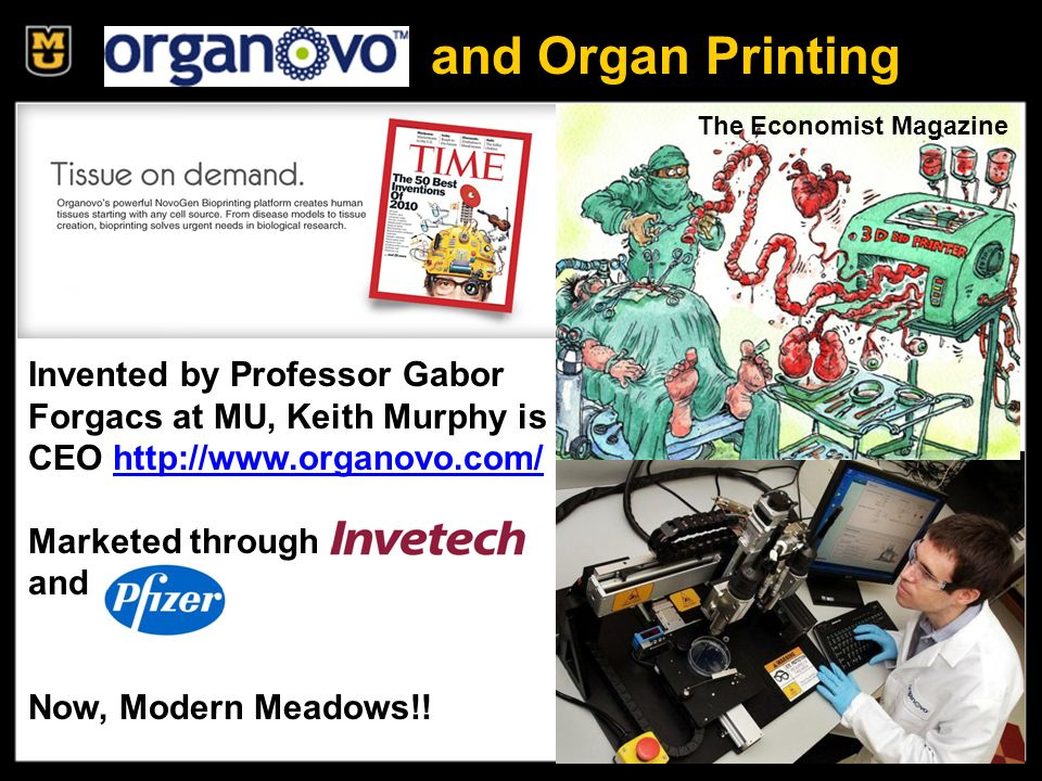 Organovo and Organ Printing Invented by Professor Gabor Forgacs at MU, Keith Murphy is CEO http://www.organovo.com/http://www.organovo.com/ Marketed through and Now, Modern Meadows!.