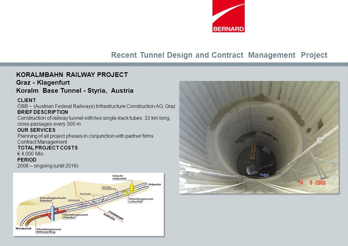 CLIENT ÖBB – (Austrian Federal Railways) Infrastructure Construction AG, Graz BRIEF DESCRIPTION Construction of railway tunnel with two single-track t