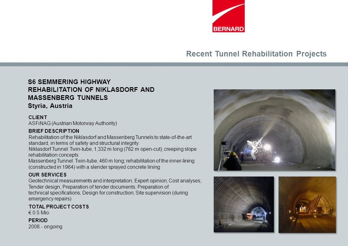 CLIENT ASFiNAG (Austrian Motorway Authority) BRIEF DESCRIPTION Rehabilitation of the Niklasdorf and Massenberg Tunnels to state-of-the-art standard, i
