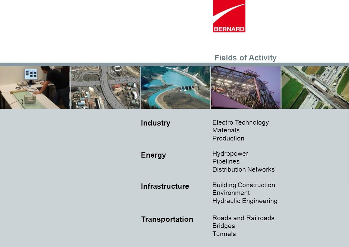 Fields of Activity Electro Technology Materials Production Industry Energy Infrastructure Transportation Hydropower Pipelines Distribution Networks Bu