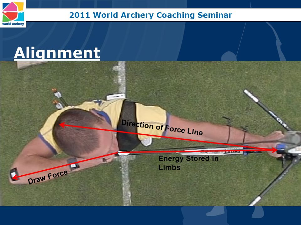 Alignment 2011 World Archery Coaching Seminar Energy Stored in Limbs Draw Force Direction of Force Line