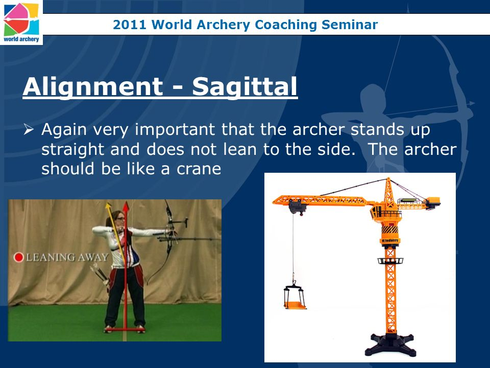 Alignment - Sagittal Again very important that the archer stands up straight and does not lean to the side. The archer should be like a crane 2011 Wor