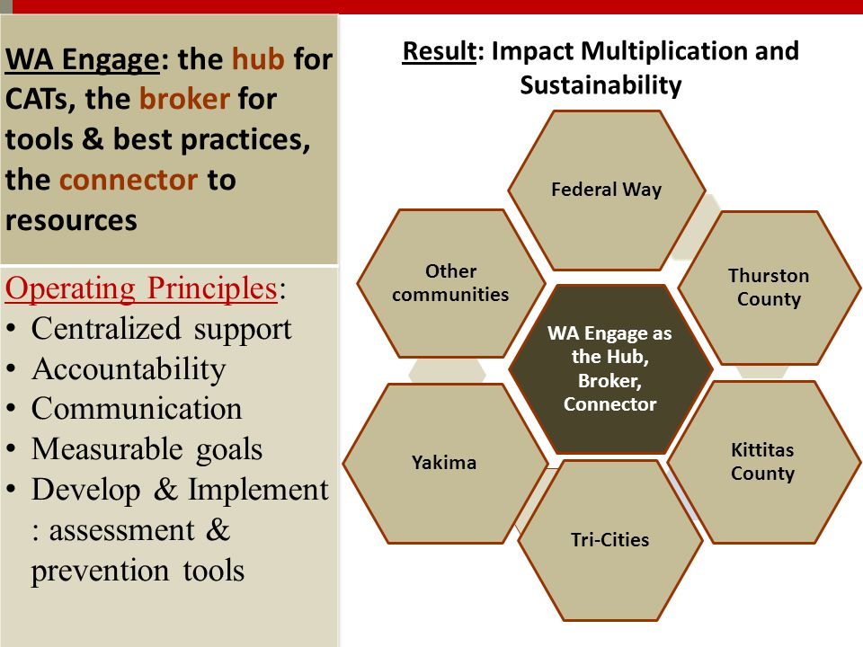 WA Engage as the Hub, Broker, Connector Federal Way Thurston County Kittitas County Tri-Cities Yakima Other communities Result: Impact Multiplication and Sustainability