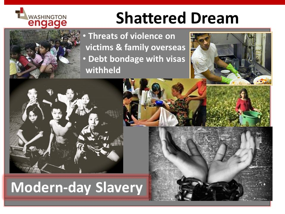 Shattered Dream Threats of violence on victims & family overseas Debt bondage with visas withheld Modern-day Slavery