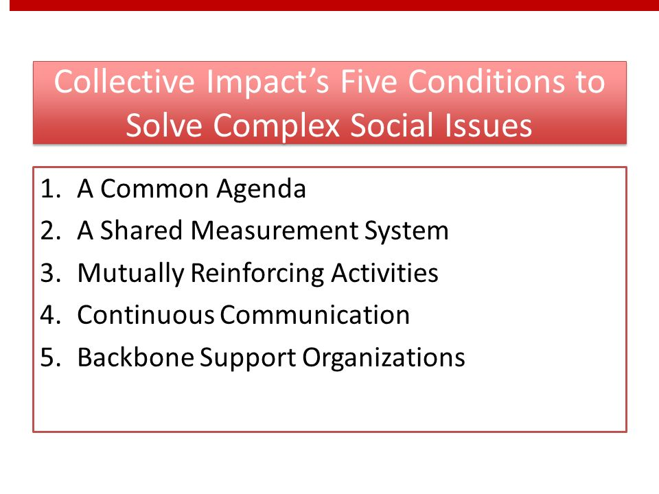 Collective Impacts Five Conditions to Solve Complex Social Issues 1.A Common Agenda 2.A Shared Measurement System 3.Mutually Reinforcing Activities 4.Continuous Communication 5.Backbone Support Organizations