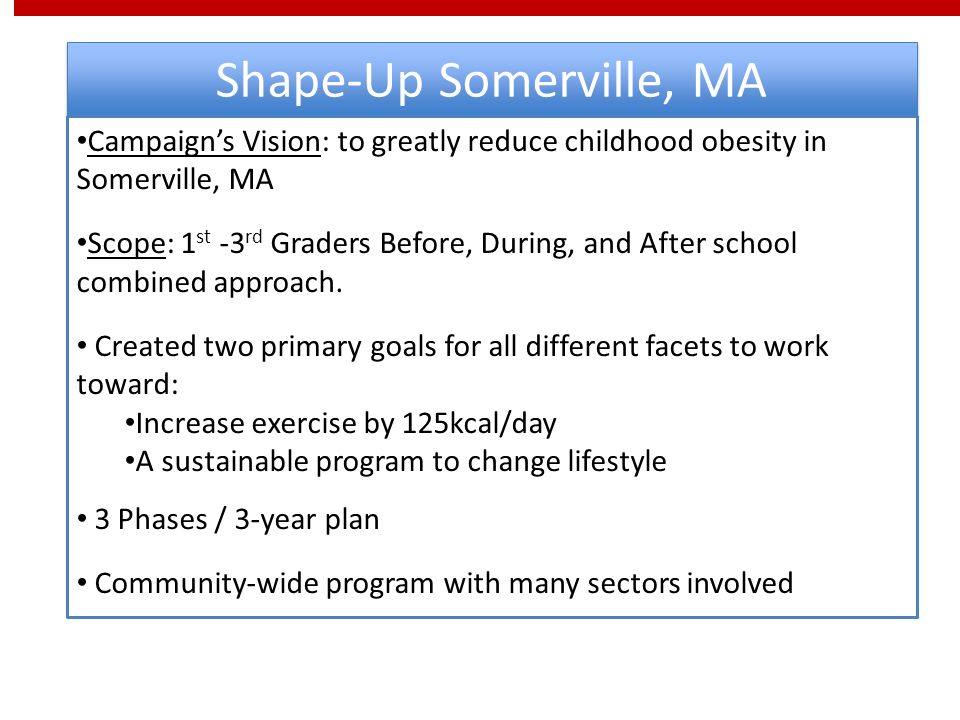 Shape-Up Somerville, MA Campaigns Vision: to greatly reduce childhood obesity in Somerville, MA Scope: 1 st -3 rd Graders Before, During, and After school combined approach.