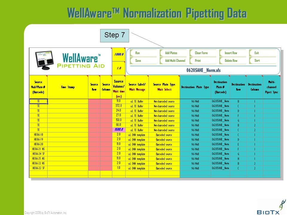 Copyright 2006 by BioTX Automation, Inc. WellAware Normalization Pipetting Data Step 7