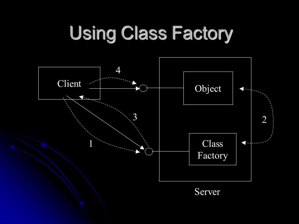 Using Class Factory Client Class Factory Object Server 1 2 3 4