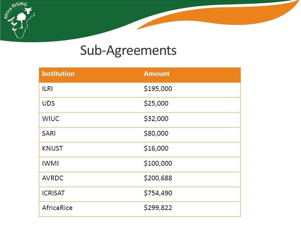 Sub-Agreements InstitutionAmount ILRI$195,000 UDS$25,000 WIUC$32,000 SARI$80,000 KNUST$16,000 IWMI$100,000 AVRDC$200,688 ICRISAT$754,490 AfricaRice$299,822