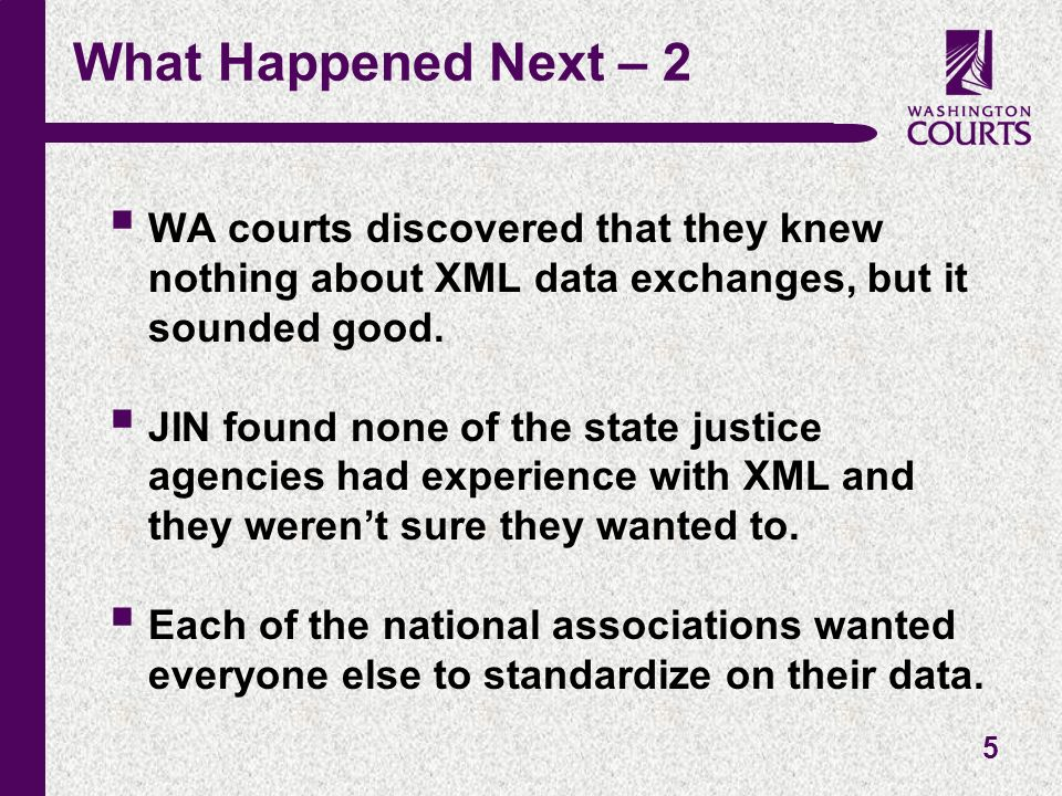 5 What Happened Next – 2 WA courts discovered that they knew nothing about XML data exchanges, but it sounded good.
