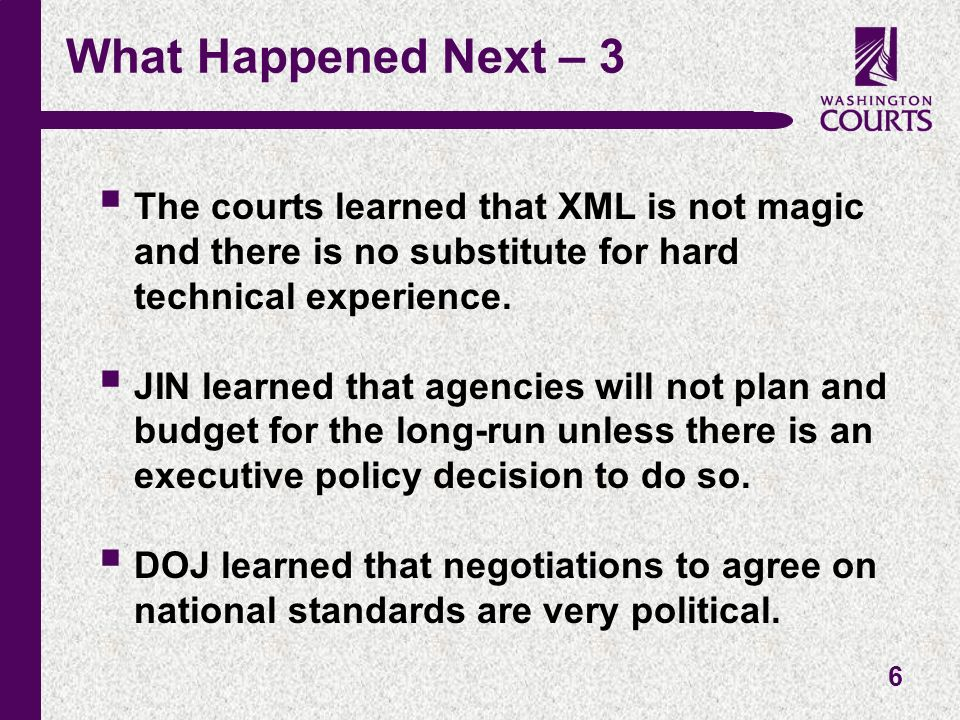 6 What Happened Next – 3 The courts learned that XML is not magic and there is no substitute for hard technical experience.