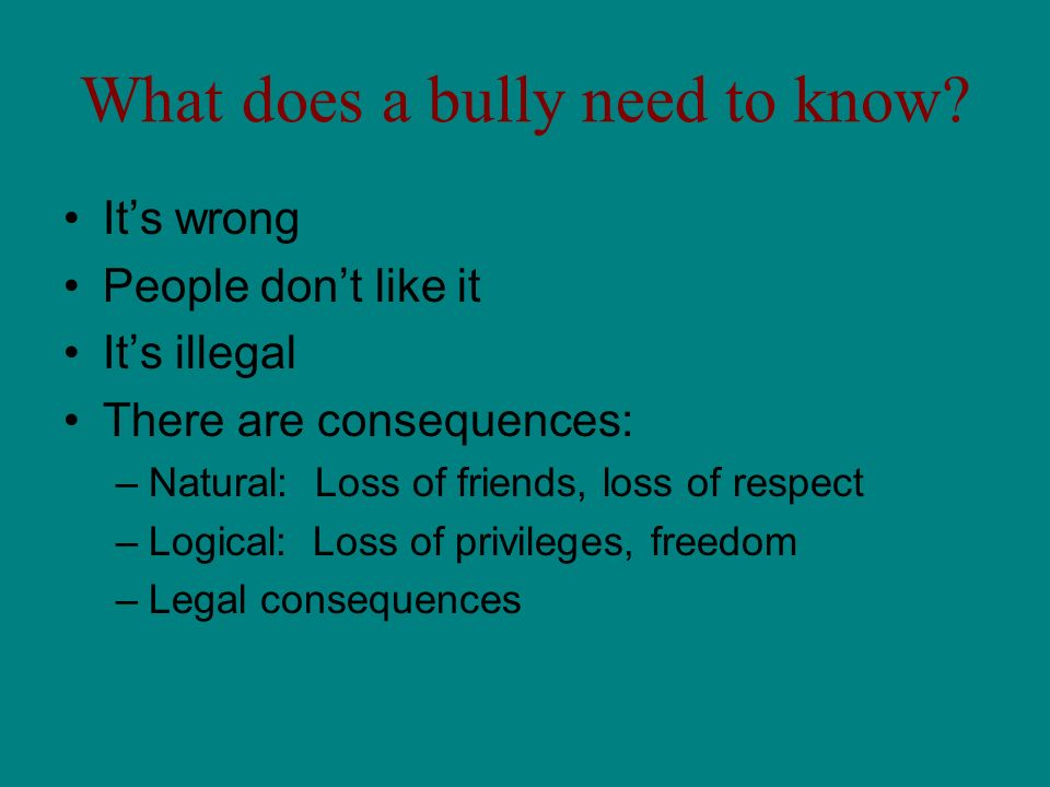 What does a bully need to know? Its wrong People dont like it Its illegal There are consequences: –Natural: Loss of friends, loss of respect –Logical: