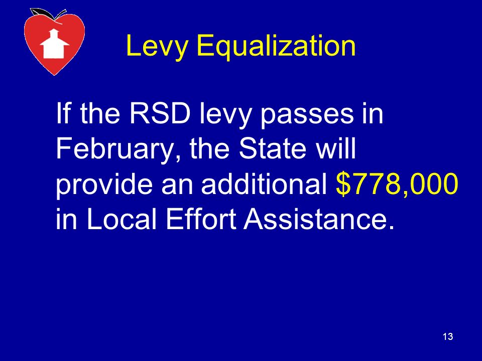 Levy Equalization If the RSD levy passes in February, the State will provide an additional $778,000 in Local Effort Assistance.