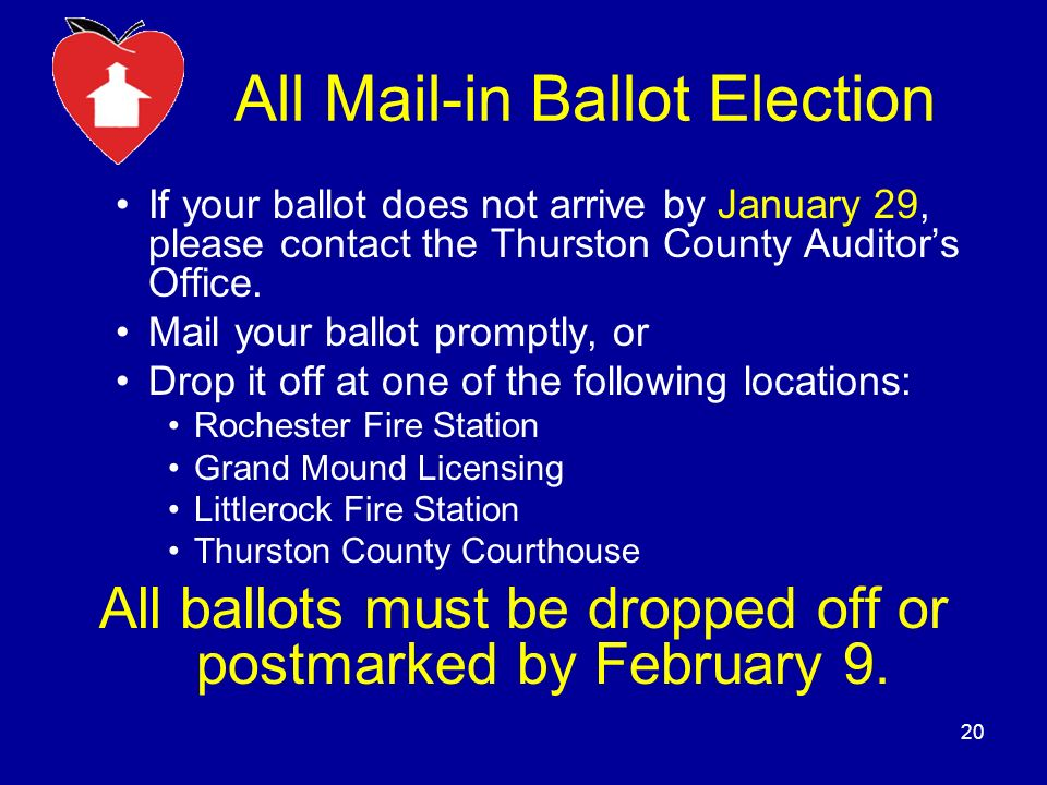 All Mail-in Ballot Election If your ballot does not arrive by January 29, please contact the Thurston County Auditors Office.