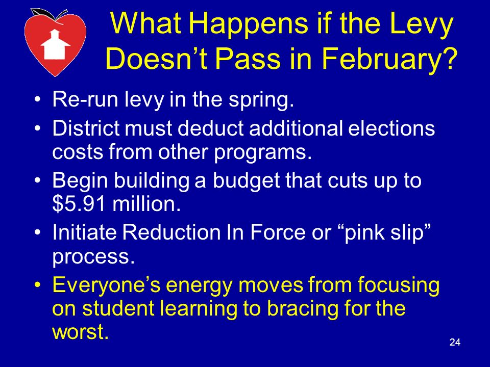 What Happens if the Levy Doesnt Pass in February. Re-run levy in the spring.