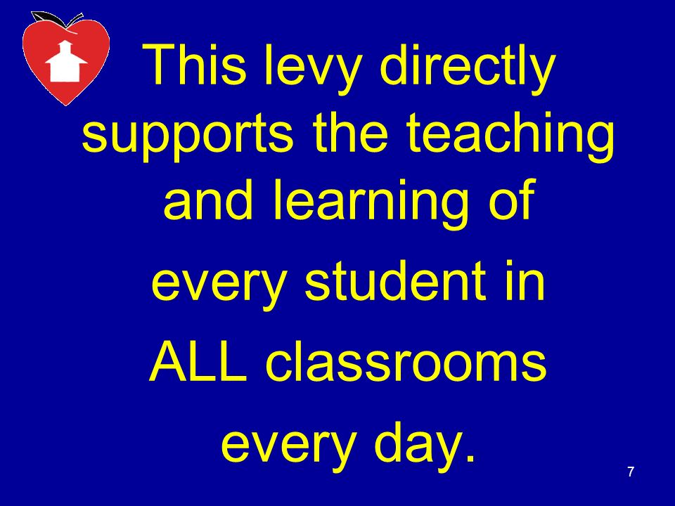 80% of the Levy Directly Impacts Teaching & Learning Staff to Lower Class Sizes Textbooks Teaching Supplies Technology Arts Programs Band & Choir Counselors English as a Second Language (ESL) Gifted Education Special Education Vocational Programs 8