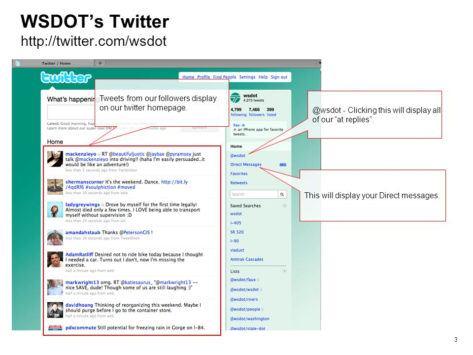 WSDOTs Twitter http://twitter.com/wsdot 3 @wsdot - Clicking this will display all of our at replies.