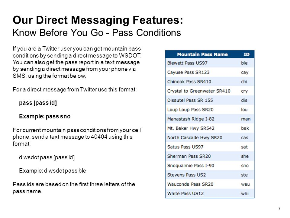 Our Direct Messaging Features: Know Before You Go - Pass Conditions 7 If you are a Twitter user you can get mountain pass conditions by sending a direct message to WSDOT.