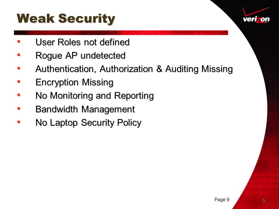 Page 9 9 Weak Security User Roles not defined User Roles not defined Rogue AP undetected Rogue AP undetected Authentication, Authorization & Auditing