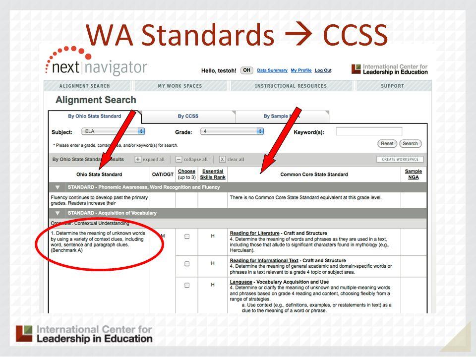 WA Standards CCSS