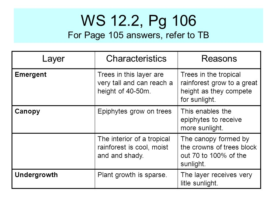 WS 12.2, Pg 106 For Page 105 answers, refer to TB LayerCharacteristicsReasons EmergentTrees in this layer are very tall and can reach a height of 40-5