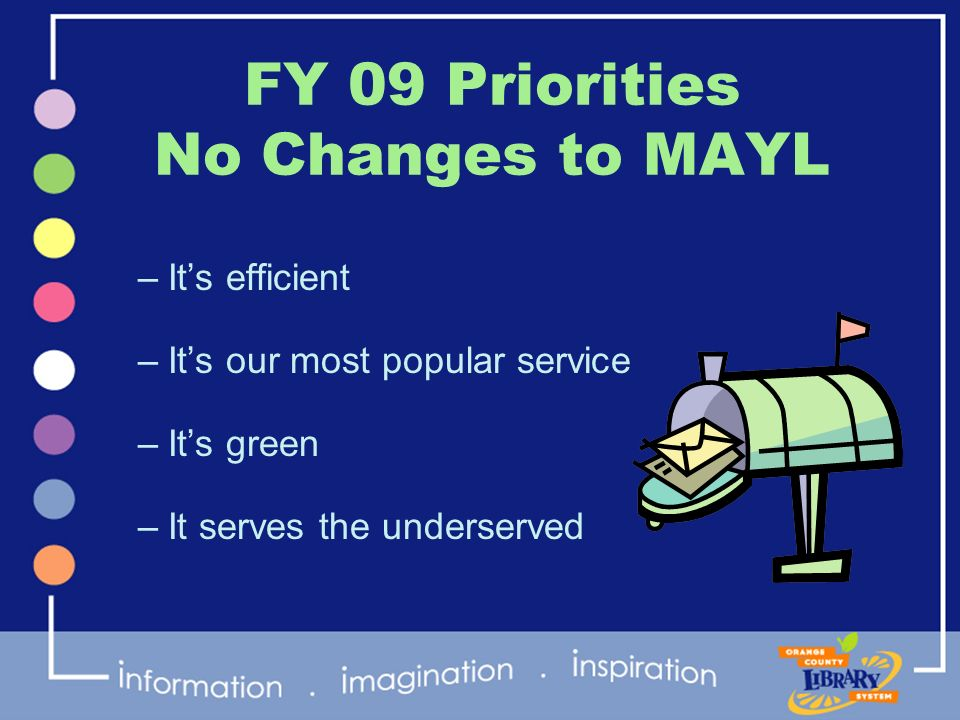 FY 09 Priorities No Changes to MAYL –Its efficient –Its our most popular service –Its green –It serves the underserved