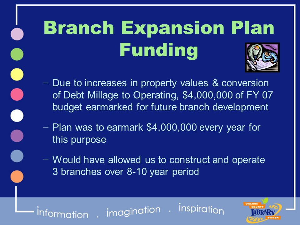Branch Expansion Plan Funding Due to increases in property values & conversion of Debt Millage to Operating, $4,000,000 of FY 07 budget earmarked for