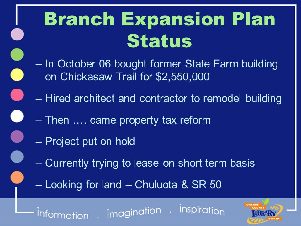 Branch Expansion Plan Status –In October 06 bought former State Farm building on Chickasaw Trail for $2,550,000 –Hired architect and contractor to rem