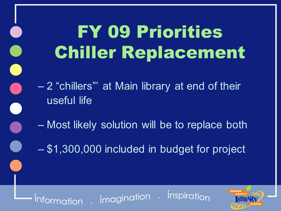 FY 09 Priorities Chiller Replacement –2 chillers at Main library at end of their useful life –Most likely solution will be to replace both –$1,300,000