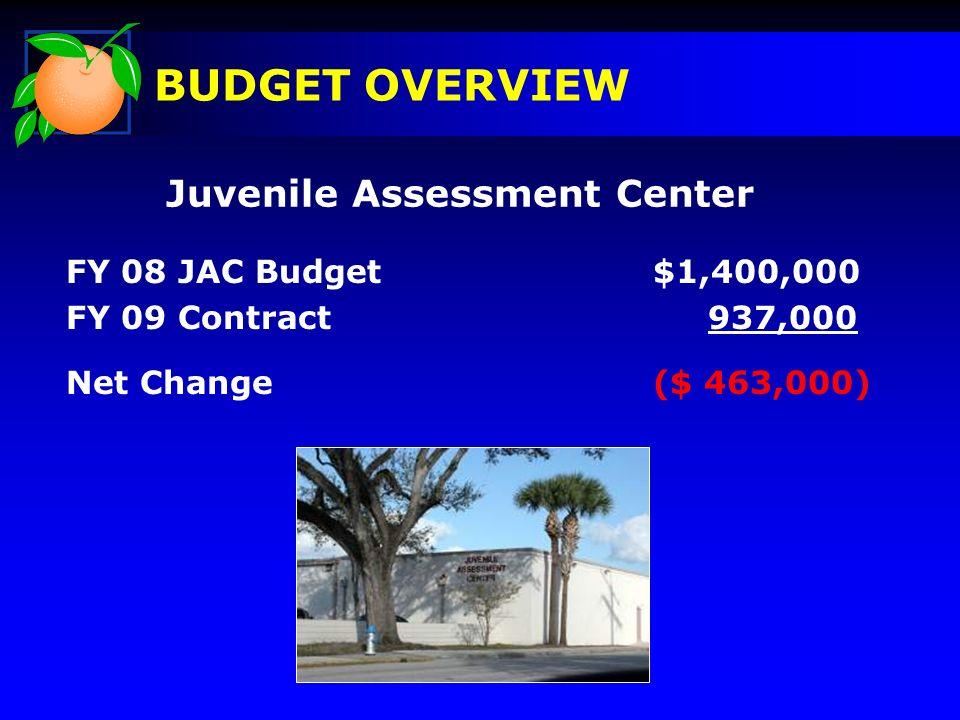 Juvenile Assessment Center BUDGET OVERVIEW FY 08 JAC Budget $1,400,000 FY 09 Contract 937,000 Net Change ($ 463,000)