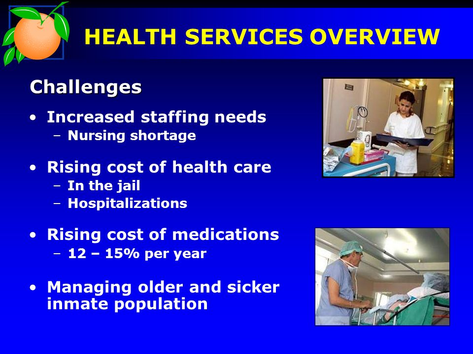 Increased staffing needs –Nursing shortage Rising cost of health care –In the jail –Hospitalizations Rising cost of medications –12 – 15% per year Man
