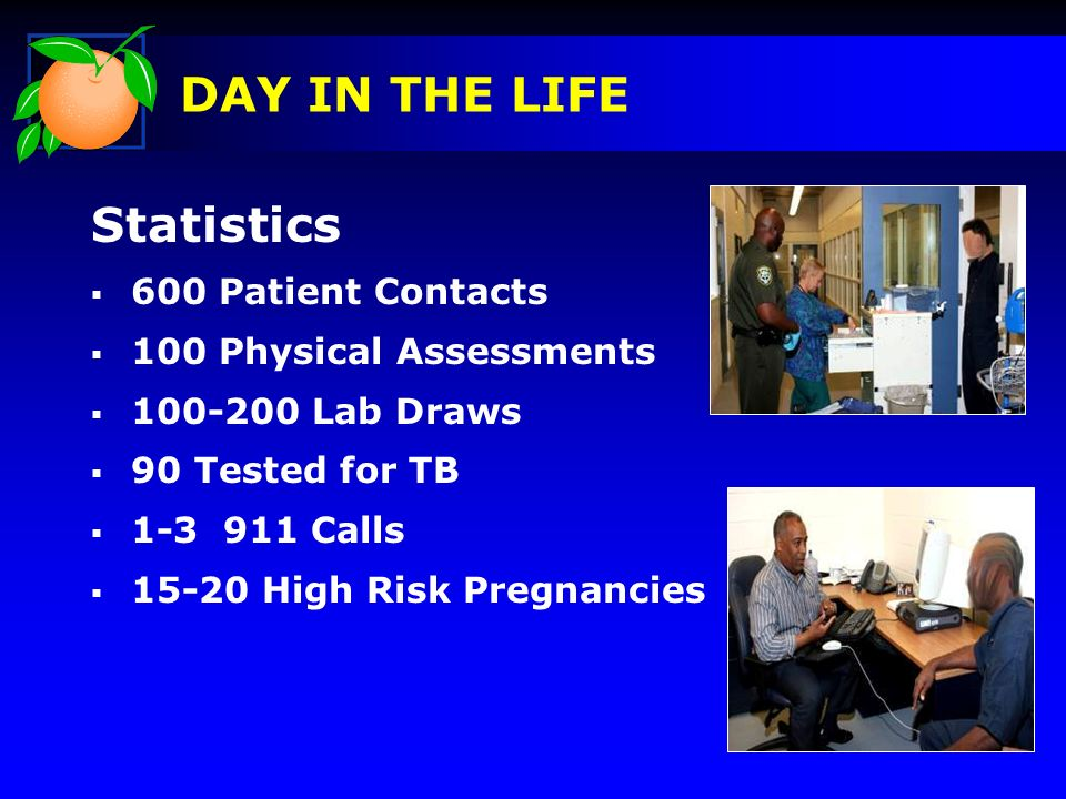 Statistics 600 Patient Contacts 100 Physical Assessments 100-200 Lab Draws 90 Tested for TB 1-3 911 Calls 15-20 High Risk Pregnancies DAY IN THE LIFE