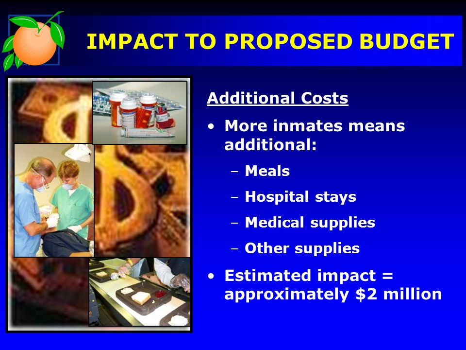 IMPACT TO PROPOSED BUDGET Additional Costs More inmates means additional: –Meals –Hospital stays –Medical supplies –Other supplies Estimated impact = approximately $2 million
