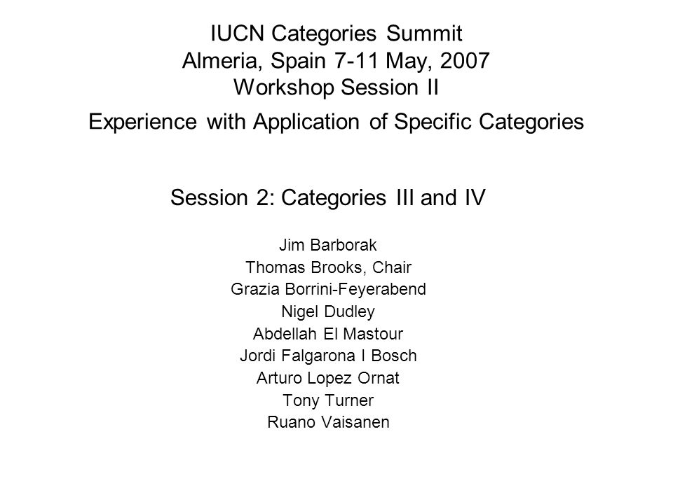 IUCN Categories Summit Almeria, Spain 7-11 May, 2007 Workshop Session II Experience with Application of Specific Categories Session 2: Categories III
