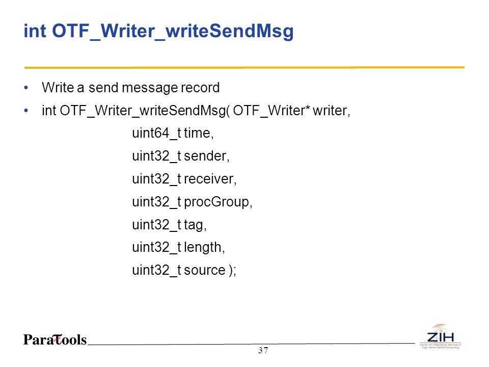 37 int OTF_Writer_writeSendMsg Write a send message record int OTF_Writer_writeSendMsg( OTF_Writer* writer, uint64_t time, uint32_t sender, uint32_t r