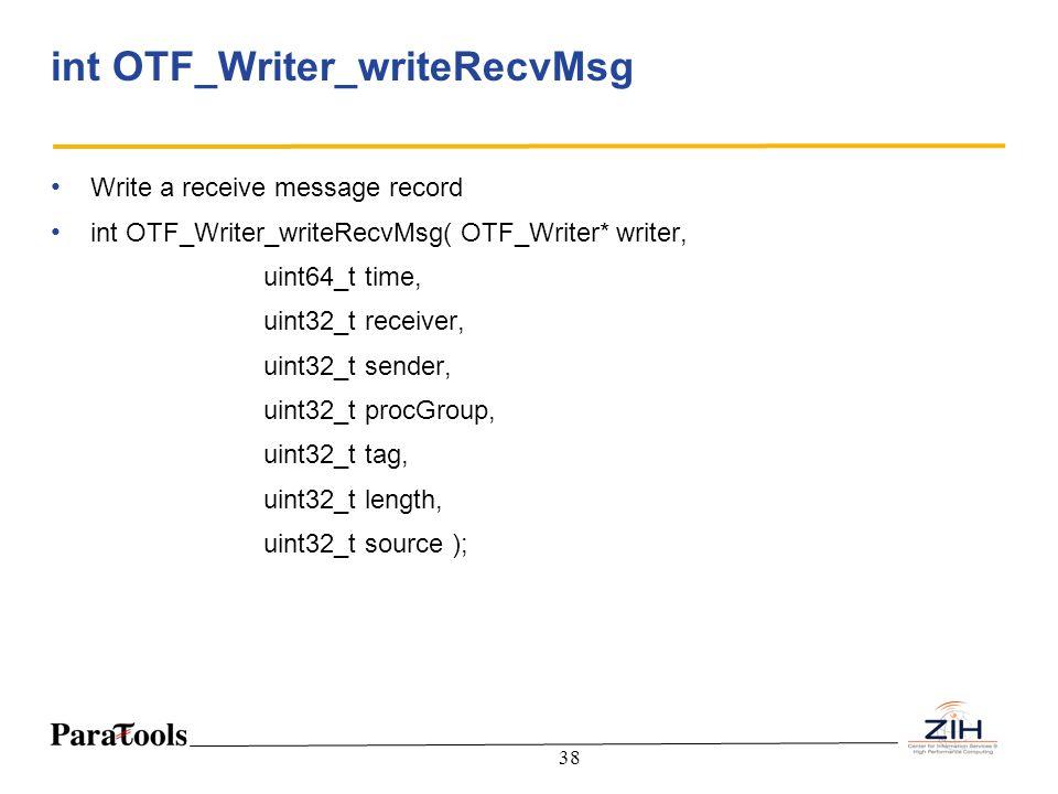 38 int OTF_Writer_writeRecvMsg Write a receive message record int OTF_Writer_writeRecvMsg( OTF_Writer* writer, uint64_t time, uint32_t receiver, uint3