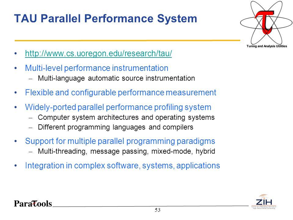 53 TAU Parallel Performance System http://www.cs.uoregon.edu/research/tau/ Multi-level performance instrumentation – Multi-language automatic source i