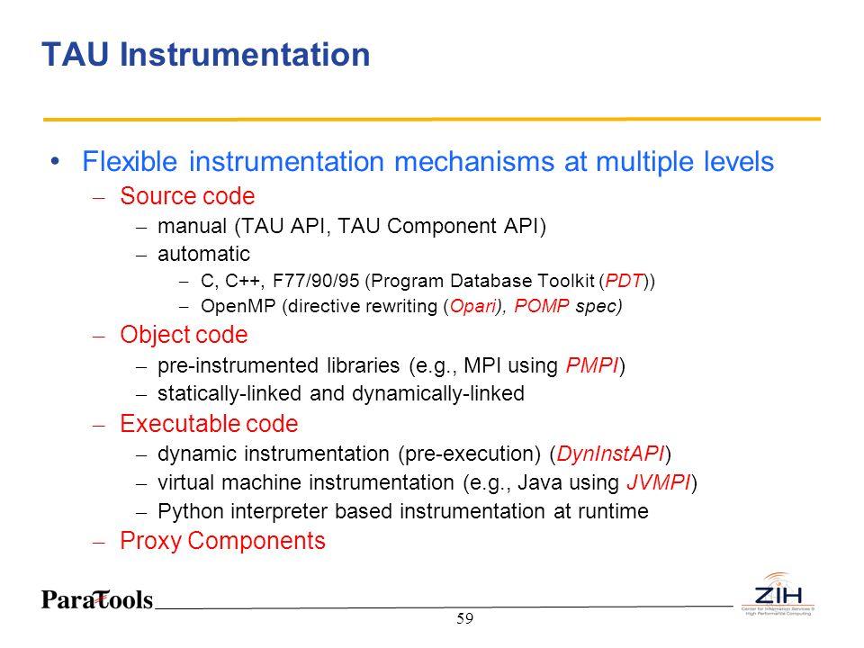 59 TAU Instrumentation Flexible instrumentation mechanisms at multiple levels – Source code – manual (TAU API, TAU Component API) – automatic – C, C++