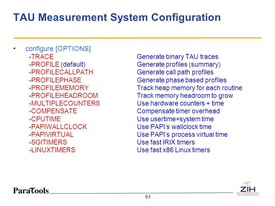 63 TAU Measurement System Configuration configure [OPTIONS] -TRACEGenerate binary TAU traces -PROFILE (default) Generate profiles (summary) -PROFILECA