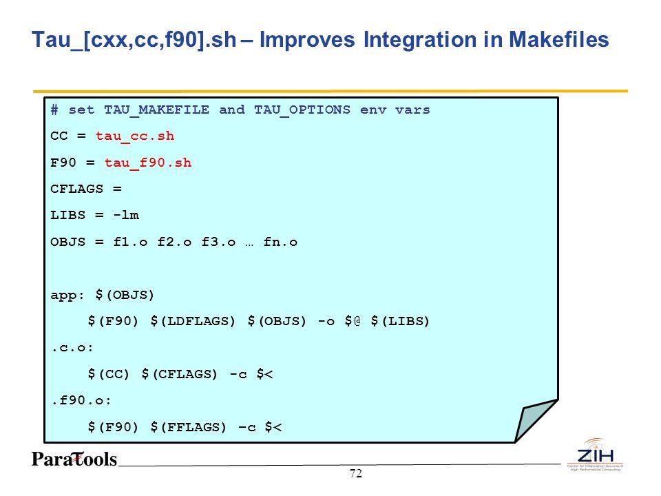 72 Tau_[cxx,cc,f90].sh – Improves Integration in Makefiles # set TAU_MAKEFILE and TAU_OPTIONS env vars CC = tau_cc.sh F90 = tau_f90.sh CFLAGS = LIBS =
