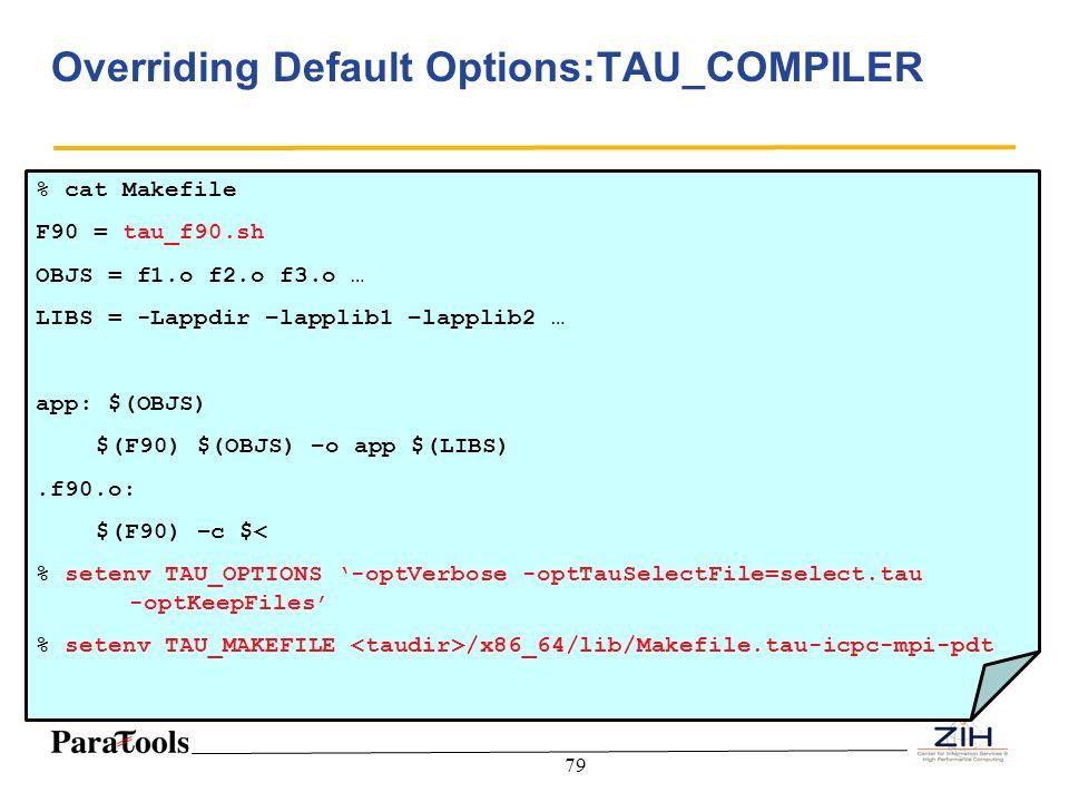 79 Overriding Default Options:TAU_COMPILER % cat Makefile F90 = tau_f90.sh OBJS = f1.o f2.o f3.o … LIBS = -Lappdir –lapplib1 –lapplib2 … app: $(OBJS)