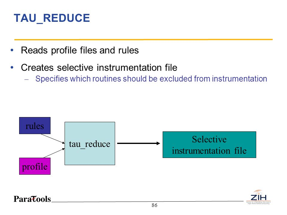 86 TAU_REDUCE Reads profile files and rules Creates selective instrumentation file – Specifies which routines should be excluded from instrumentation