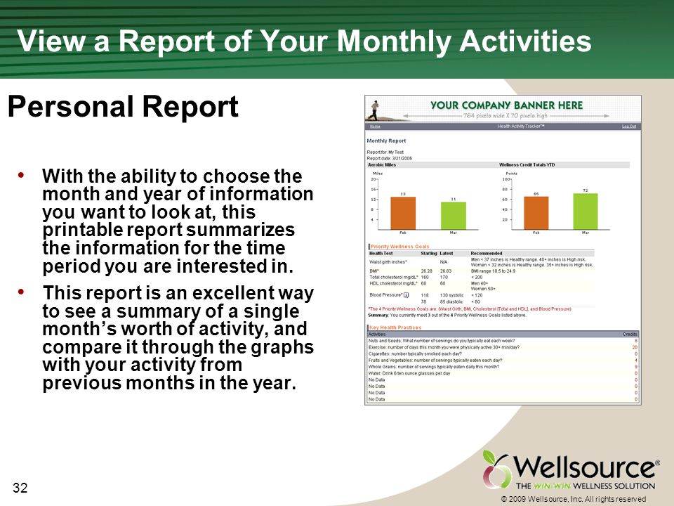 32 © 2009 Wellsource, Inc. All rights reserved. View a Report of Your Monthly Activities With the ability to choose the month and year of information