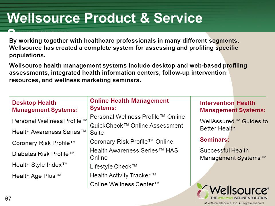 67 © 2009 Wellsource, Inc. All rights reserved.