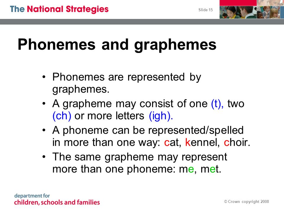 Slide 15 © Crown copyright 2008 Phonemes and graphemes Phonemes are represented by graphemes. A grapheme may consist of one (t), two (ch) or more lett
