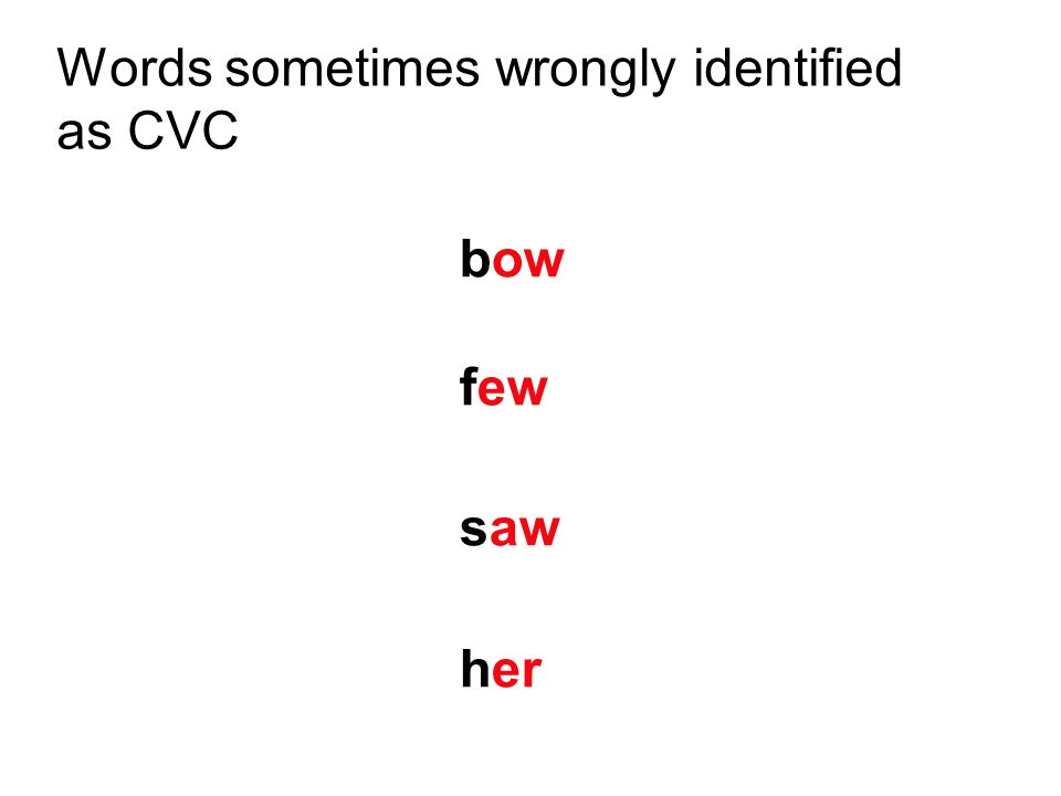 Words sometimes wrongly identified as CVC bow few saw her