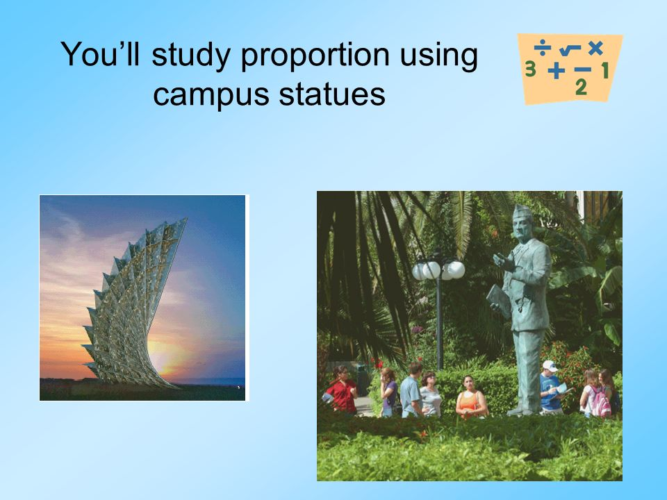 Youll study proportion using campus statues