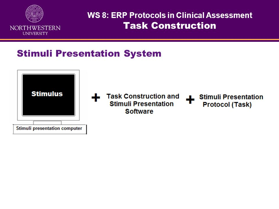 Software for developing a stimuli presentation protocol and delivering stimuli to a patient/subject. Computer for presenting stimuli. Stimuli Presenta