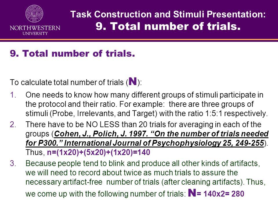 Task Construction and Stimuli Presentation: 8. Inter-stimuli interval. 8. Inter-stimulus interval ( sometimes called stimulus onset asynchrony/SOA -ti