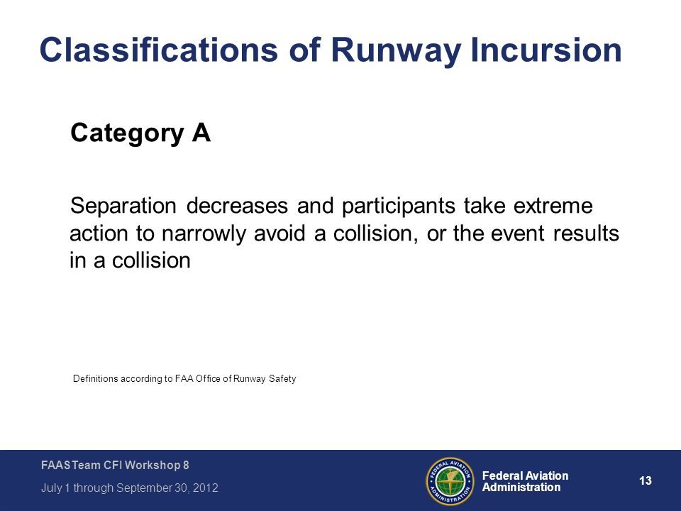 13 Federal Aviation Administration FAASTeam CFI Workshop 8 July 1 through September 30, 2012 Classifications of Runway Incursion Category A Separation